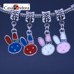 CasaPandora 4 Colors Silver-colored Rabbit Head Pendant Fit Bracelet Charm DIY Enamel Bead Jewelry Making Pingente Berloque Wholesale