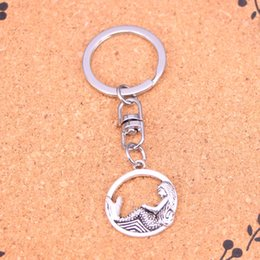 New Fashion circle mermaid Keychains Antique Silver plated Keyholder fashion Solid Pendant Keyring gift