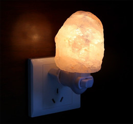 Wholesale Natural Himalayan Salt Night Light Mini Decorative Night Lighting with Air Purifier degrees W E12 UL Wall Plug Natural Form