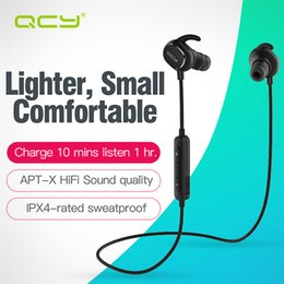 100% Original QCY IPX4-rated sweatproof headphones bluetooth 4.1 wireless sports earphones aptx stereo headset with MIC for iphone samsung