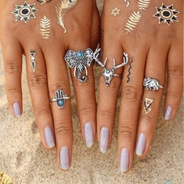 2017 New Elephant Rings Sets Vintage Bohemian Deer Turkish Midi Ring Set Steampunk Hand Joint Knuckle Rings for Women