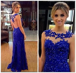 2017 Royal Blue Jewel Neck Lace Evening Dresses Mermaid Sheer Backless Appliques Beaded Long Prom Party Gowns Robe de soriee