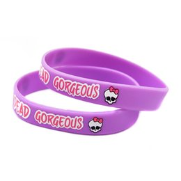 Wholesale 100PCS Lot Monster High Silicone Bracelet Wear This Latex-Free Wristband To Support The One You Love