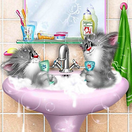 Wholesale High Quality DIY Two Cats Bathing Embroidery Mosaic Diamond Painting Cross Stitch Area Square Animal Wall Decor Gift A1196
