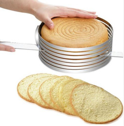 Wholesale 16 cm Stainless Steel DIY Adjustable Retractable Circular Ring Cake Layered Slicer Baking Tool Kit Set Mousse Mould Slicing