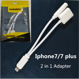 Wholesale Lamchin Loly in Earphone Audio Charge Adapter Cable Lighting Connector to mm AUX Jack for iphone plus with Packing