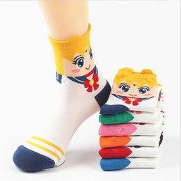 Wholesale 6 Colors Korean Style Sailor Moon series womens short tube crew sock Lovely cartoon sweet absorbent Cotton Cartoon Sock casual ankle socks