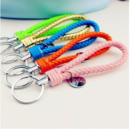 Creative ornament ms white pure manual weaving male couples key ring leather car key chain free shipping