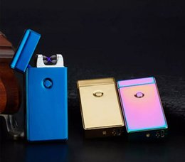 Electronic Lighter DUAL Arc Windproof Ultra-thin Metal Pulse USB Rechargeable Flameless Electric Arc Cigar Cigarette Lighter Hot Sales