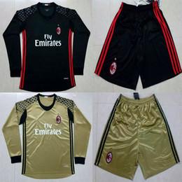 Wholesale 2016 Long Sleeve AC Milan Goalkeeper Soccer Jerseys portiere Donnarumma Black Gold Goalie Milan Football Shirts Kits maglie calcio
