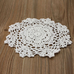 """Wholesale Knitting Doily - Wholesale-8"""" Round Lace Floral Doilies Handmade Crochet Knit Cup Coasters Tableware Placemat Pad Table Cloth Wedding Decor"""