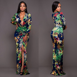 2017 High Quality New Fashion Lady Women Printed Sling One Piece Trousers Rompers Jumpsuits Sexy V Neck Split Long Sleeves Rompers FS1742