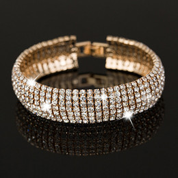 Factory price Gold and Silver plated Classic Crystal Pave Link Bracelet Bangle Fashion Full Rhinestone Jewelry for Women