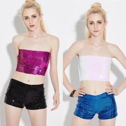 Women's Sequin morality Wrapped chest Chest cloth DJ Jazz Hip Hop Dance Clothes Female Sexy Sequined performance csotumes