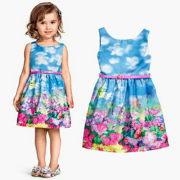 Wathet Blue Clothes Baby Girl Printed Floral Princess Sleeveless Dress Children Kids Dresses for Girls Clothing