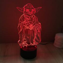 Promotion énergie ups Vente en gros 3D LED Guerra De Las Galaxias YODAMaster Light-Up Jouets Chambre réglable Gradient Couleur Gradient lampe d'économie d'énergie lampe