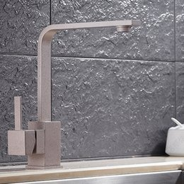 Wholesale 2017 Hot Selling Quartz Stone Sink Faucet Kitchen With Grey color Rotatable Faucet With Square Shaped HS303