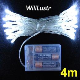 Descuento luces de hadas blancas con pilas Venta al por mayor-willlustr LED cadena de luces de Navidad lámpara de hadas 4m de iluminación de 4 metros luz de fiesta de hadas luz de vacaciones blanco 3 * AA alimentado por batería