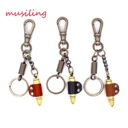 Wholesale Leather Key Chain Bullet Key Rings Car Key Rings Material Antique Copper Alloy Pendant Vintage European Charm Jewelry Mix