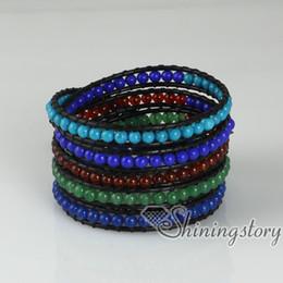 Wholesale five layer beaded wrap bracelets semi precious stone jade agate turquoise rose quartz natural stone jewelry Hand made bracelets
