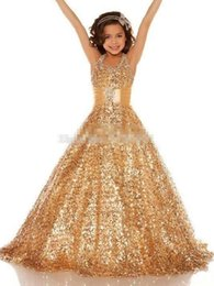 Hot Sale New Gold Sequined Flower Girl Dresses 2017 Halter Neck Sash Princess Little Kid Pageant Party Sweep Train Ball Gown Custom Made