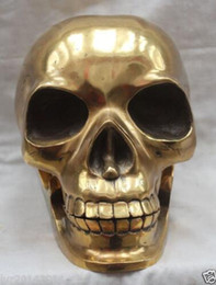 Pure Copper Gilded Bronze With Taste Chinese Chinese Brass Designed Human Skull Skeleton Human Head Statue Sculpture Decoration