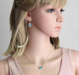 Wholesale Various colors Beautiful Kendra Scott Drusy Necklace Earrings Resin Stone Colored Druzy Oval Bridal Jewelry set for Women