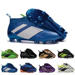 Wholesale Cheap Black Football Cleats - 2017 Wholesale Discount ACE 16+ PureControl FG Men Soccer Shoes Boots Slip-On Cheap Performance 16 Ace Cleats Football Sneakers New