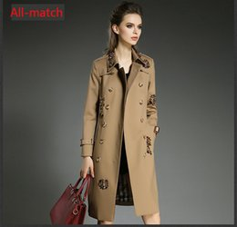 2017 autumn and winter new European style double breasted women stylish elegance Khaki windbreaker jacket women long coat