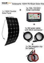 Solarparts Стандартные комплекты 100W DIY RV / лодки наборы Солнечная система 100W гибкая солнечная панель + контроллер + кабель наружного света светодиодные модуль от Производители р.в. комплекты солнечных панелей