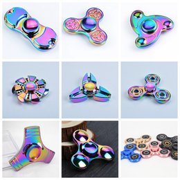 Retail Rainbow Colorful Zinc Alloy Triangle Heptagon Fidget Spinner Metal Decompression Toys With Retail Box 1pcs lot