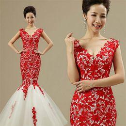 2017 New Sexy Wedding Dresses Red Lace Backless V-Neck Princess Mermaid Vestido De Noiva Romantic Formal Bridal Gown