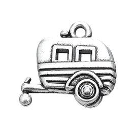 Wholesale Antique Silver Plated Camping Trailer Charm Travel Pendant Zinc Alloy Metal DIY Jewelry Making a