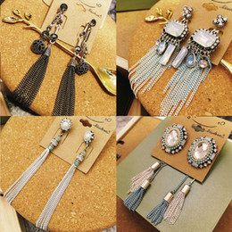 IN STOCK Vintage handmade Long tassels earrings delicacy Female Bohemia Gemstone stud earrings eardrop