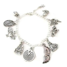 12pcs Labyrinth Charm Bracelet Peach Melting Clock Owl Goblin King's Castle charm bracelet adjsutable Jewelry