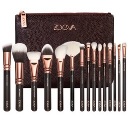 ZOEVA Multi-function 15 pcs rose gold makeup brushes, hot selling Rose golden oval makeup brushes, rose gold oval makeup brush set