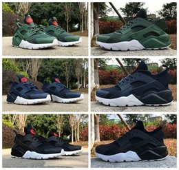 Huraches verdes en Línea-Nuevo aire Huarache 4 IV Ultra refleja los zapatos corrientes para los hombres de cuero de las mujeres Huaraches para hombre negro azul oscuro azul Huraches Deportes Zapatillas de deporte 36-46