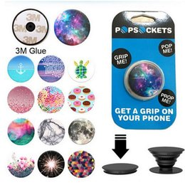 Wholesale Universal PopSockets Expanding Stand and Grip Flexible phone holder pop Socket M Glue for iphone s plus s7 Tablets Google pixel XL ipad