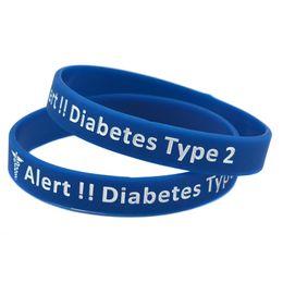 Venda al por mayor la pulsera alerta médica diabética del Wristband del silicón del tipo 2 de 100PCS / Lot para el envío de la gota del grupo de la diabetes
