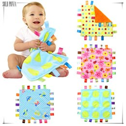 Wholesale Baby soft multicolour label baby appease the comforting towel cloth toy placarders rattle handkerchief with sound paper