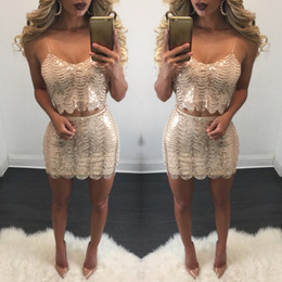 2017 New Summer Fashion women's two piece sets strapless short tops & pencil skirt sparkling sequins sexy party suits