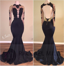2018 Hot African Black and Gold Mermaid Prom Dresses High Neck Satin Lace Appliques See Through Open Back Long Sleeves Prom Evening Gowns