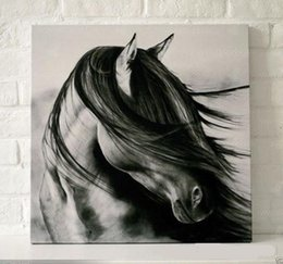 black white horse,Pure Handpainted contemporary WALL DECOR Art Oil Painting On High Quality Canvas.Multi customized sizes Avalaible accepted