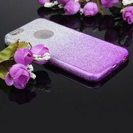 Wholesale Gradient Color Bling Glitter Shiny Back Case for iPhone S Plus Samsung J5 J7 LG V10 Ultra Thin Slim Elegant PC Phone Bags With OPPBAG