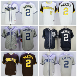 johnny manziel jerseys Promotion San Diego Padres Jersey # 2 Johnny Manziel Maillot de Baseball White Home Grey Road Bleu Bleu Brown Cooperstown Pullover
