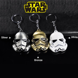 Wholesale Star Wars alloy Key chains Imperial Stormtrooper Car Key ring Cartoon Key pendant White silver bronze cm kids toys