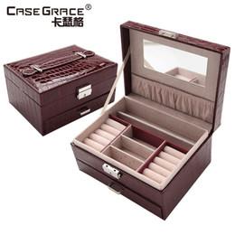 Caja de joyería coreana cajón portátil brillante superficie de bloqueo de cuero europea de almacenamiento de madera caja de joyas maquillaje 20 * 16 * 11cm desde almacenamiento de maquillaje de madera proveedores
