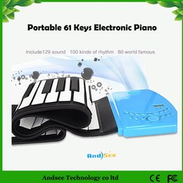 Enrollar 61 llaves en Línea-Regalo de Navidad Portátil 61 Llaves Piano Electrónico Diseño Flexible Roll Up Piano Durable Soft Silicone Rubber Keyboard Piano