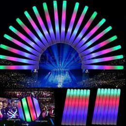 2017 flan de mousse led Light Up Foam Sticks LED Wands Rally Rave Batons DJ Flashing Glow Stick LED Colorful Rods CCA6798 2000pcs flan de mousse led promotion