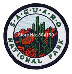 Wholesale 3 quot Souvenir Saguaro National Park Patch Arizona Desert Cactus Embroidered Sew On Iron On badge transfer christmas gift